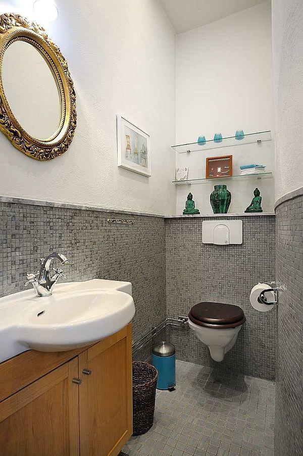 unique bathroom Design with unusual grey tile inspiration